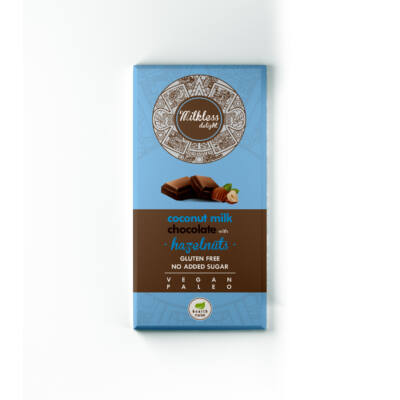 Mikless Delight Kókusztejes csokoládé egész mogyoróval, édesítőszerrel 80g